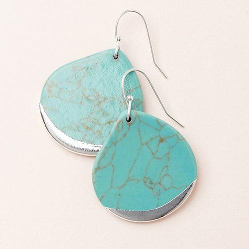 Turquoise Stone Dipped Teardrop Earring