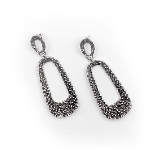 Marcasite Oval Post Earrings