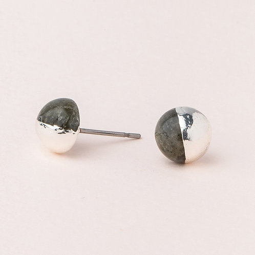 Dipped Stone Stud - Labradorite/Silver