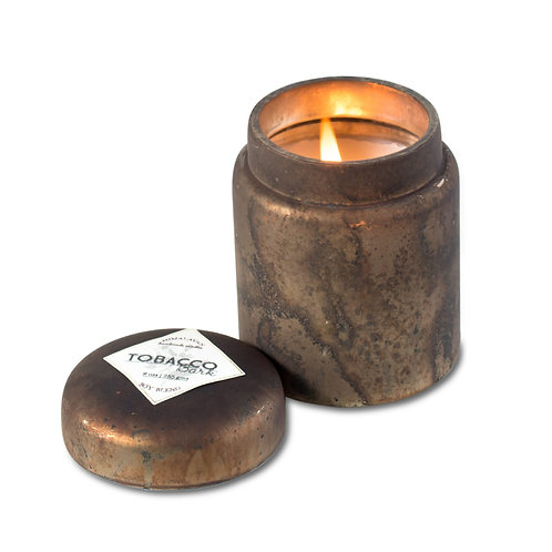 Tobacco Bark Glass Candle