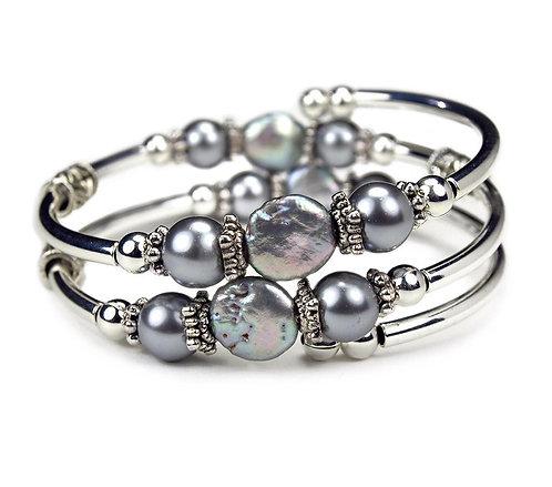 Silver Coin Pearl Spiral Bracelet