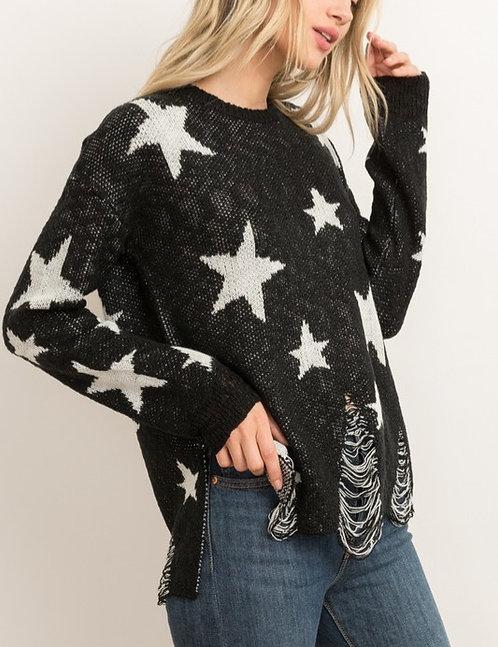 Distressed Bottom Hem Round Neck Star Sweater