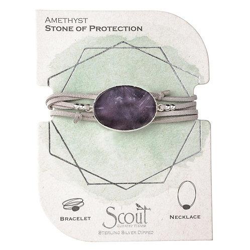 Vegan Suede Stone Wrap - Amethyst