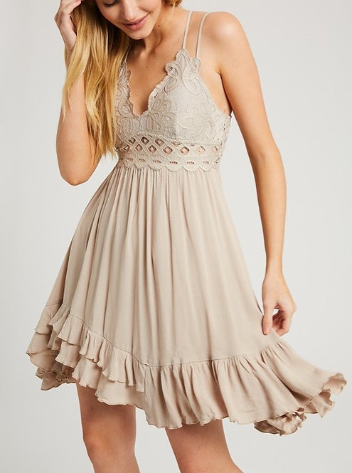 Scalloped Laced Bralette Dress Champagne