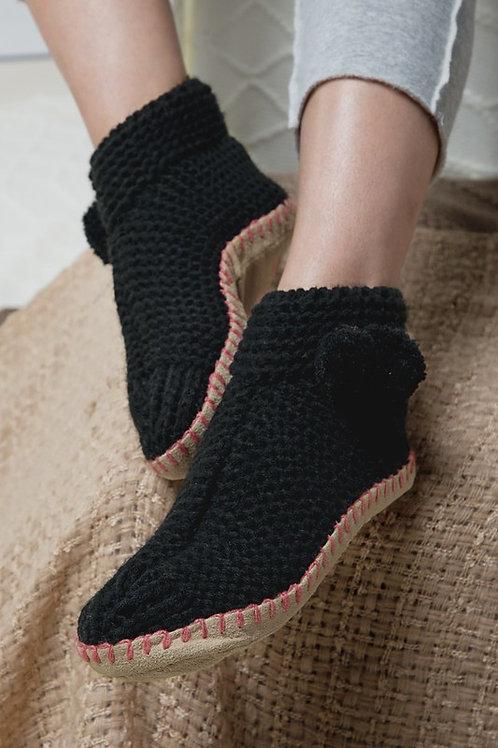 Black Slipper Sock Boot