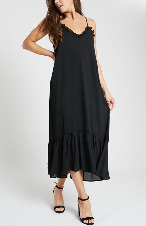 Spaghetti Strap Ruffle Hem Maxi Dress Black