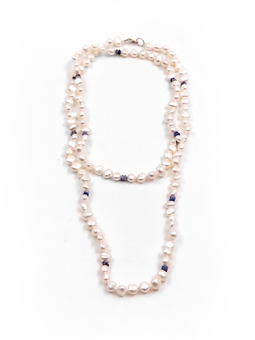 Freshwater Pearl & Lapis Necklace