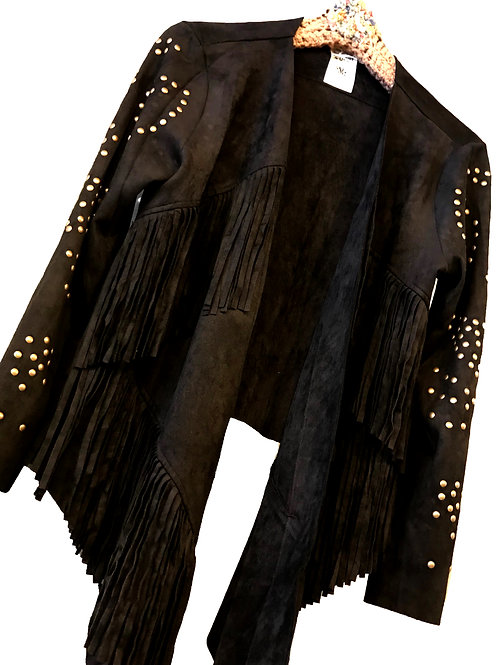 Black Fringe Ultra Suede Jacket