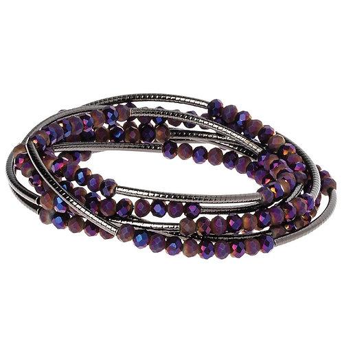 Hahlia Hematite Silver Wrap Bracelet