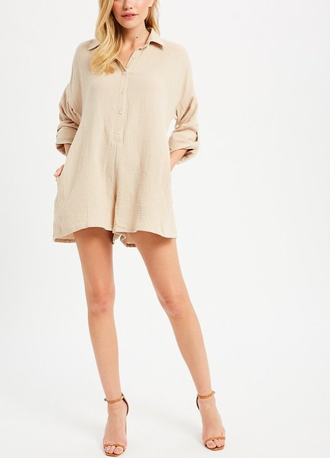 Button Down Long Sleeve Romper W/Pockets Sand