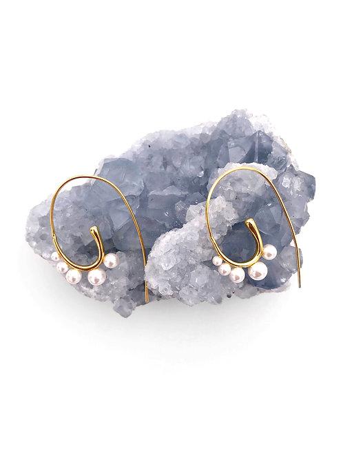 Fiddle Head Pearl Earrings