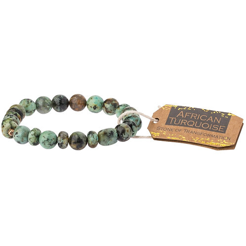 African Turquoise Stone Bracelet - Stone of Transformation