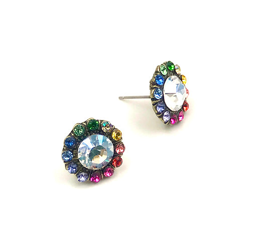 Swarovski Crystal Rainbow Stud Earrings