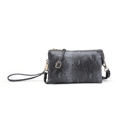 Compartment Wristlet Crossbody Charcoal Python