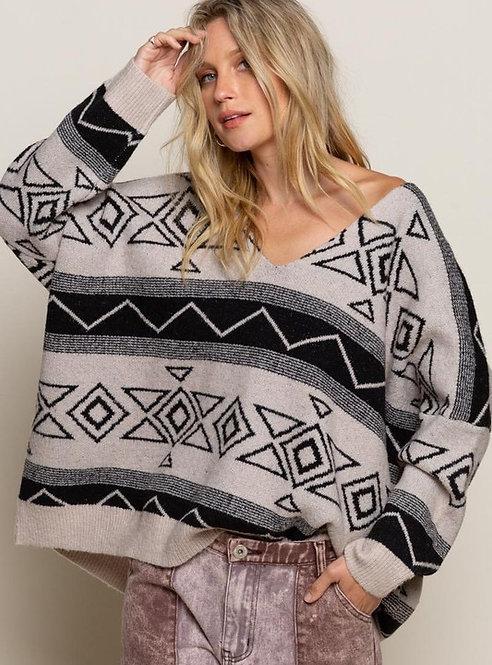 Aztec V Neck Sweater