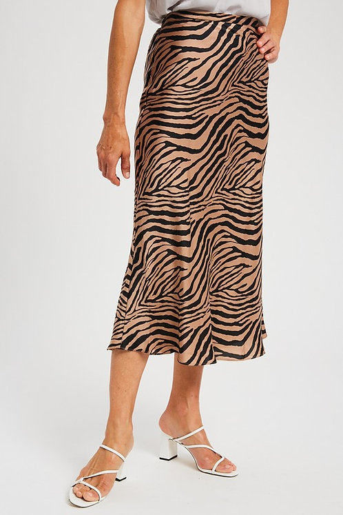 Zebra Midi Skirt Mocha Neutral