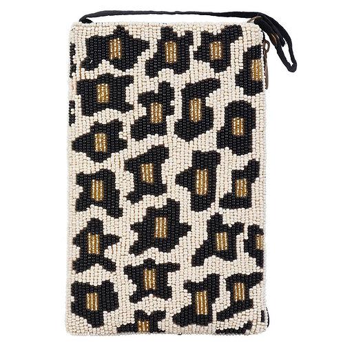 Leopard Beaded Phone Bag