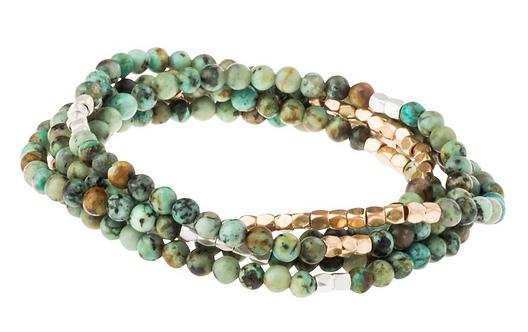 African Turquoise Stone Wrap Bracelet