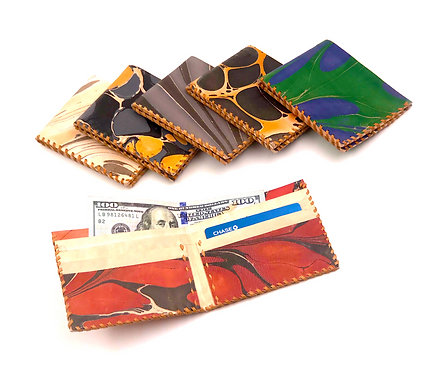 Hand-Marbled Flat Wallet Rich Neutrals