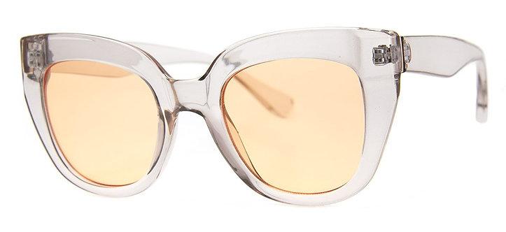 Glam Clear Grey Frame Cool Tint Sunglass