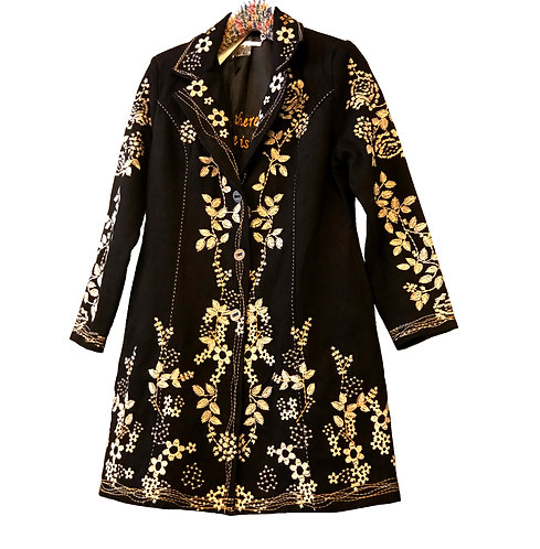 Leaves and Flowers Embroidered 3/4 Jacket