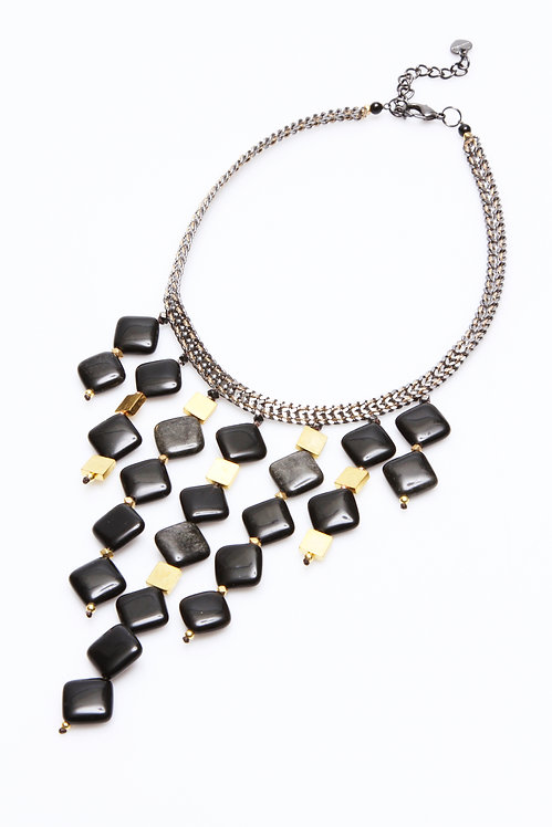 Onyx Mixed Metal Necklace
