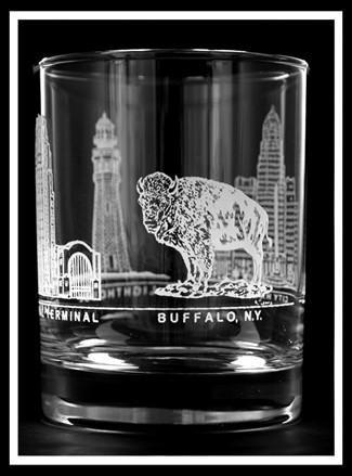 Buffalo 4 Image Rocks Glass