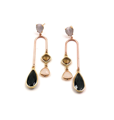 Smoky Quartz & Rose Quartz Earrings
