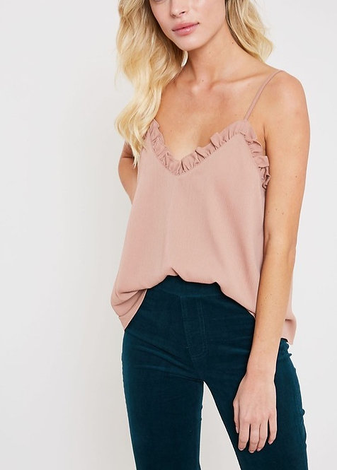 Ruffled Hem Cami Top Rouge