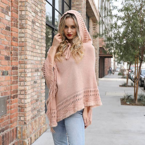 Lace Up Knit Poncho with Hood