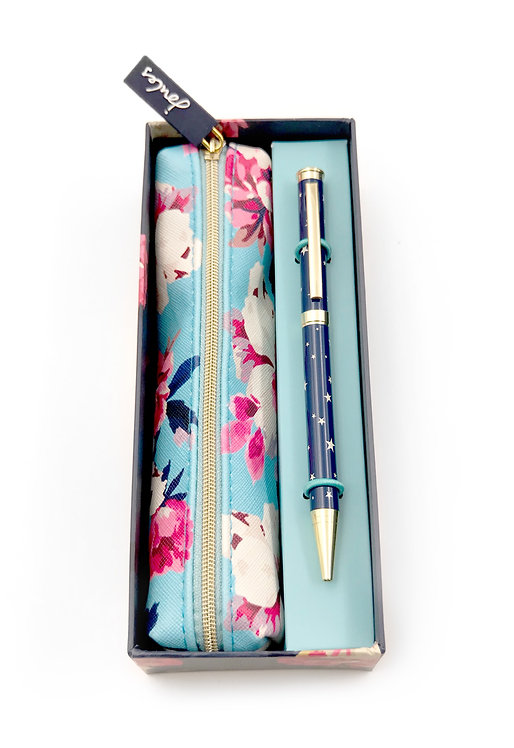 Floral  Zip Pouch and Star Pen Set
