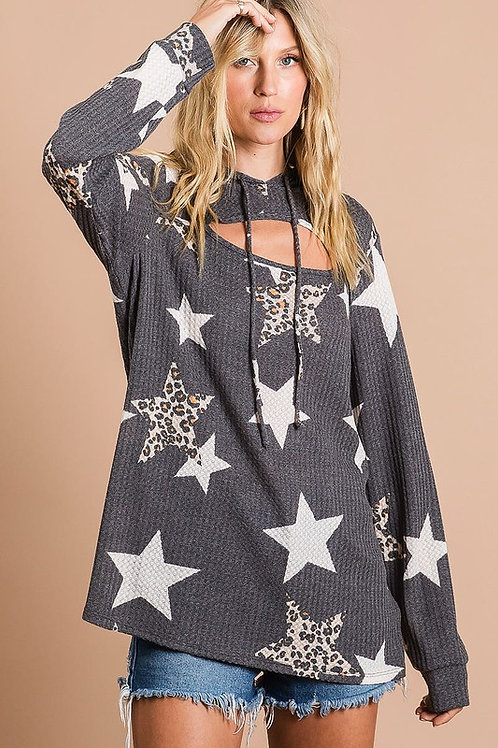 Leopard Star Thermal Waffle Knit Top