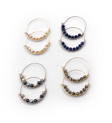 Milan Semi Precious Hoop Earrings