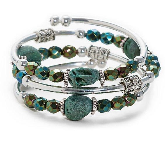 Green Druzy Spiral Bracelet