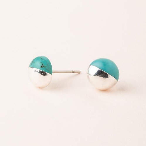Dipped Stone Stud - Turquoise/Silver  ES005