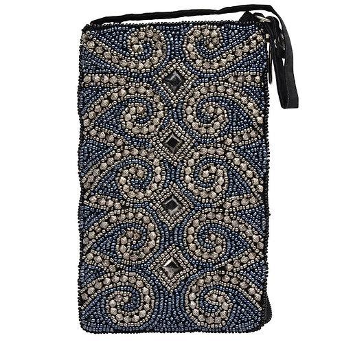 Midnight Swirl Beaded Phone Bag