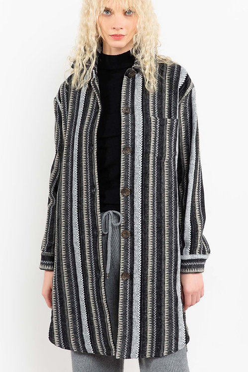 Sophisticated Hipster Striped Overcoat
