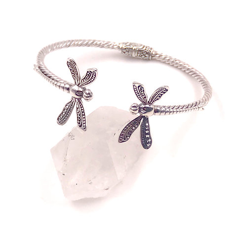 Sterling Silver Dragonfly Duo Bracelet