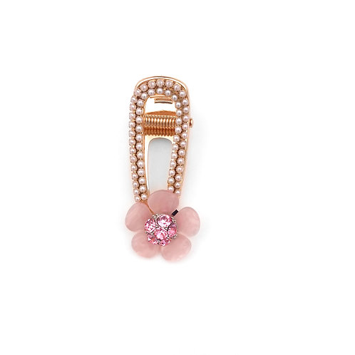 Pink Rhinestone and Pearl Pinch Clip