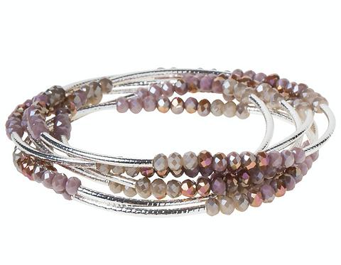 Mauve Combo Silver Wrap Bracelet