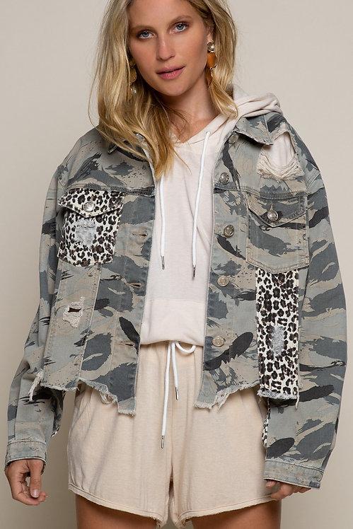 Camo Leopard Patch Denim Jacket