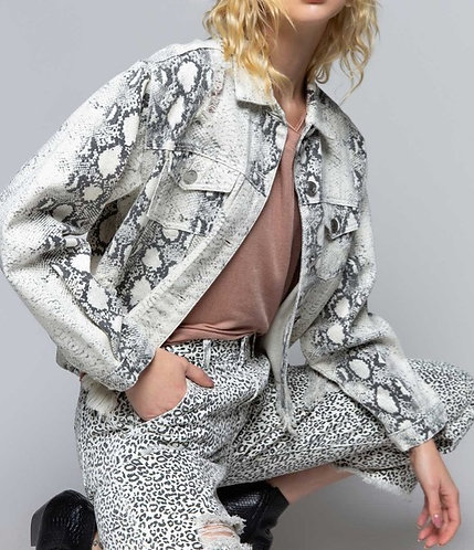 White Snake Pattern Denim Jacket