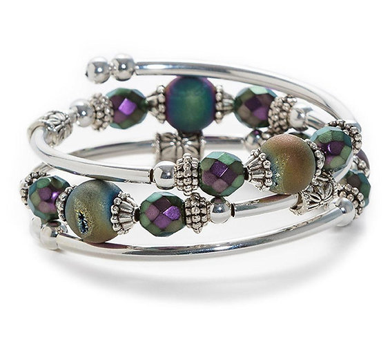 Blue Druzy Spiral Bracelet