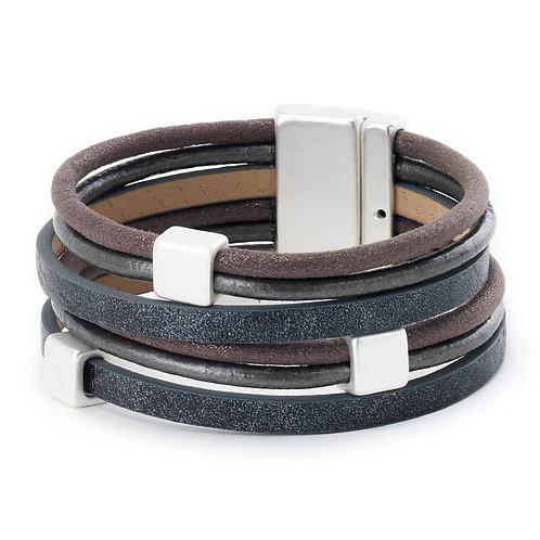 Multi With Squares Bracelet Grey