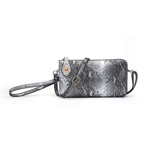 Twist Lock Crossbody Wristlet Pewter