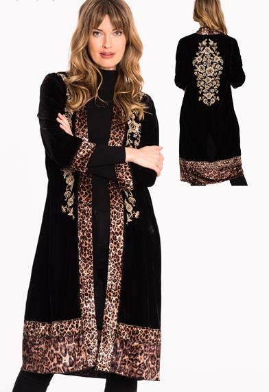 Velvet Embroidery leopard Trimmed Jacket