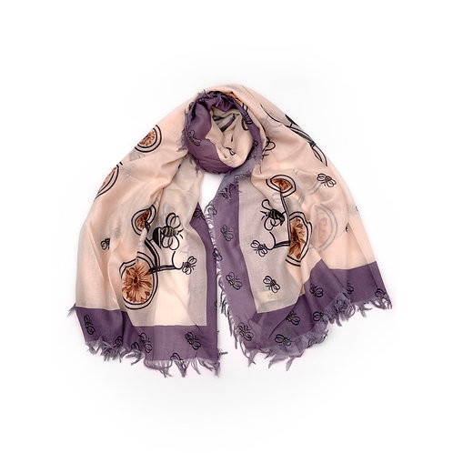 Bee Floral Scarf Plum