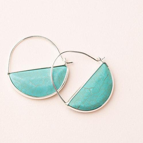 Turquoise Stone Prism Hoop Earring