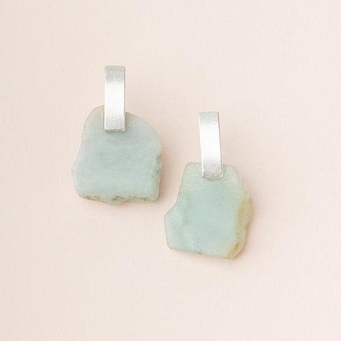Amazonite Stone Slice Earring