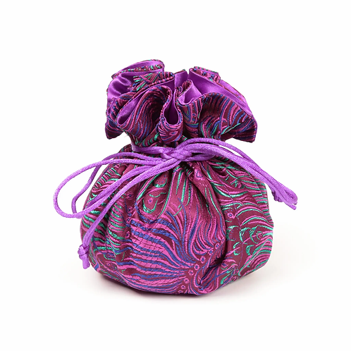 Purple and Blue Peacock Brocade Jewelry Pouch